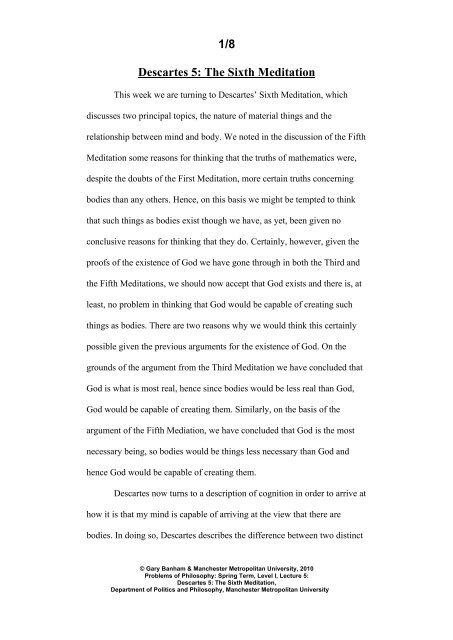 descartes meditation 6/ essay