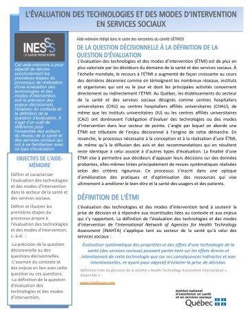 UETMISS Aide Memoire - INESSS