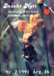 Insekt-Nytt nr. 2, 1991 - Norsk entomologisk forening