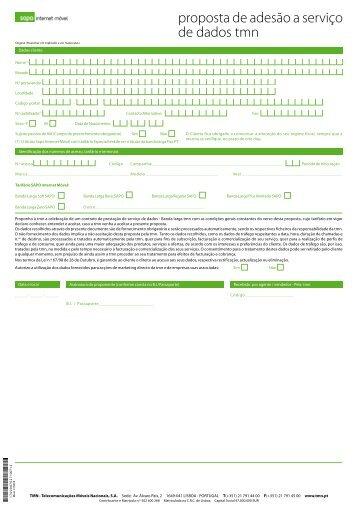 proposta de adesão a serviço de dados tmn - Sapo