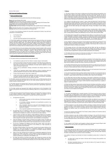Terms & Conditions of Purchase - Northern Rail