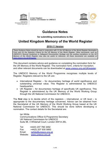 Guidance Notes United Kingdom Memory of the World Register