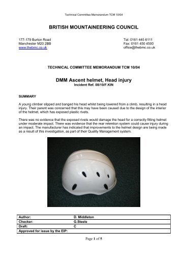 DMM Ascent helmet, Head injury - The British Mountaineering Council