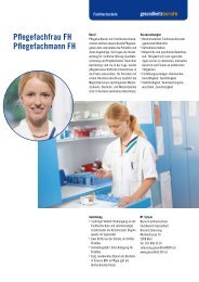 Pflegefachfrau FH Pflegefachmann FH - Gesundheitsberufe Bern