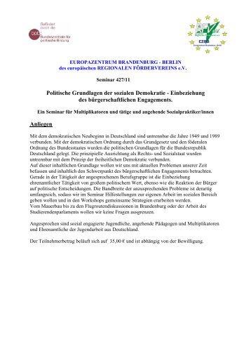 Politische Grundlagen der sozialen Demokratie - Einbeziehung des ...
