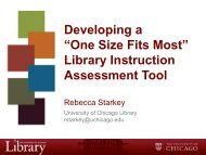 Library Instruction Assessment Tool - The University of Chicago ...