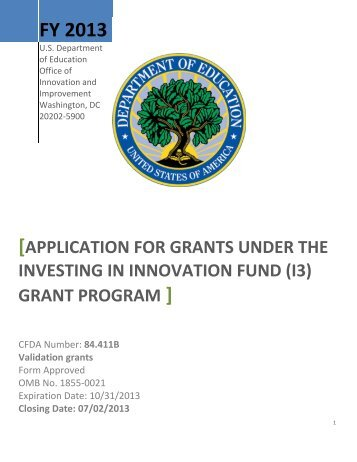 Investing in Innovation Fund (i3) Application Package(MS ... - ED Pubs