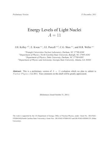 Energy Levels of Light Nuclei A = 11 PDF file - Triangle Universities ...