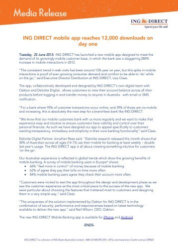 ING DIRECT Cover Letter - FST Media