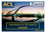 Presentation Acquisition of a 25% stake in Hochtief - Grupo ACS