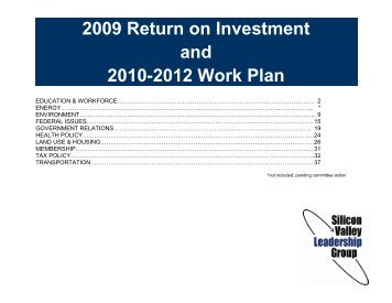 2009 Return on Investment - Silicon Valley Leadership Group