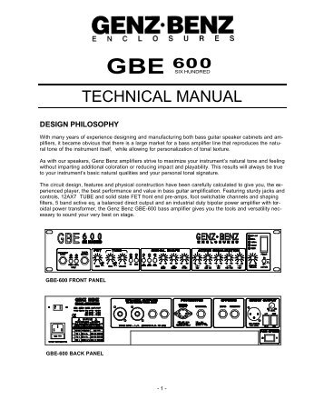 GBE 600 Technical Manual - Genz Benz