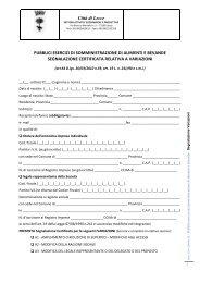 SCIA Somministrazione di alimenti e bevande ... - Comune di Lecce
