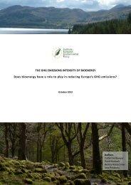THE GHG EMISSIONS INTENSITY OF BIOENERGY Does bioenergy ...