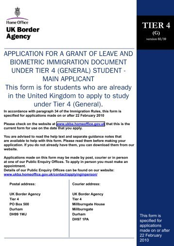 TiEr 4 (GEnEral) aPPlicaTiOn FOrm - English UK