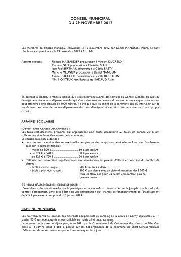 conseil municipal du 29 novembre 2012 - Saint-Genest-Malifaux