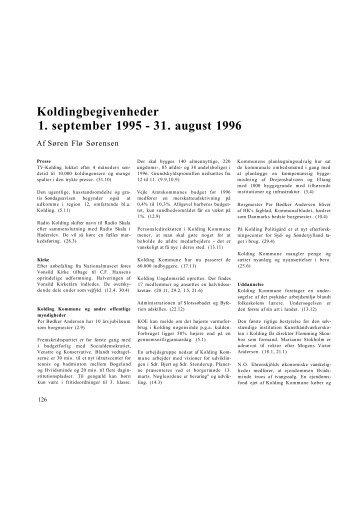 Koldingbegivenheder 1. sep. 95 - 31. aug. 96 - Kolding Kommune