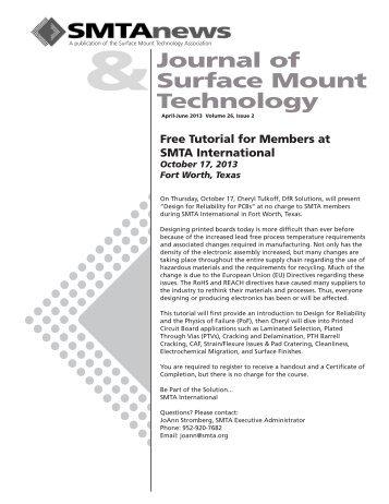 Journal of Surface Mount Technology - SMTA