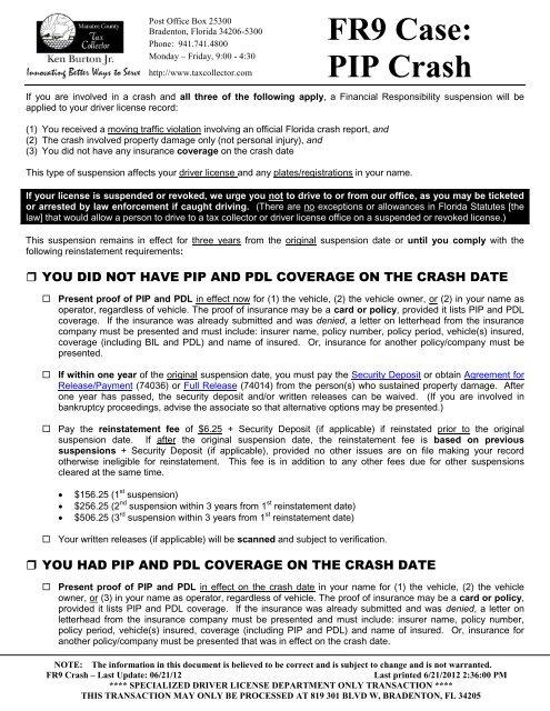 Insurance Suspension - FR9 PIP Crash (CIP)