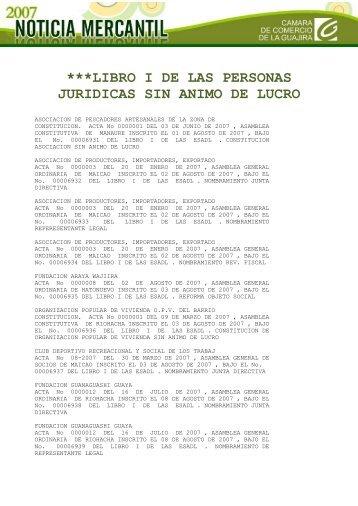 ***LIBRO I DE LAS PERSONAS JURIDICAS SIN ANIMO DE LUCRO
