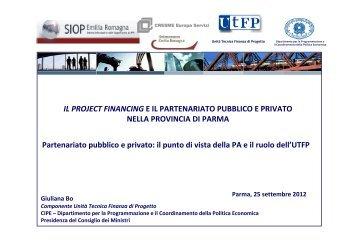 il punto di vista della PA e il ruolo dell'UTFP