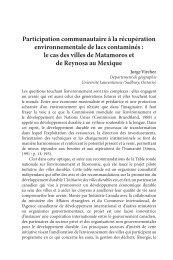 Participation communautaire à la récupération environnementale de ...