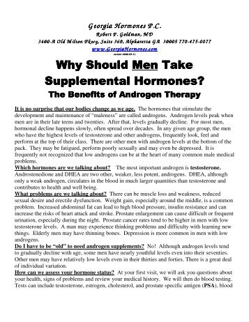 Supplemental Hormones? - Georgia Hormones