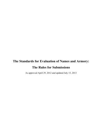 The Standards for Evaluation of Names and Armory - SCA Heraldry
