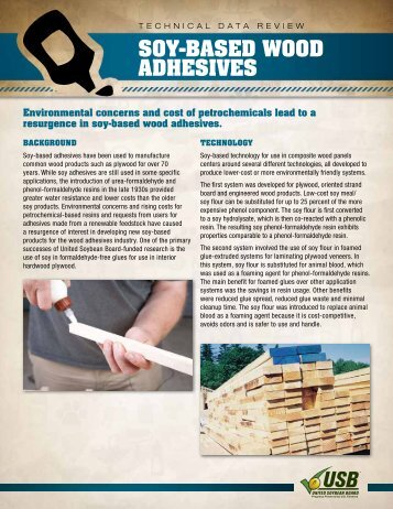 Soy-BaSed Wood adheSiveS - Soy New Uses