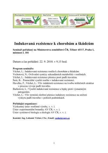 Indukovaná rezistence k chorobám a škůdcům - VÚRV, v.v.i.