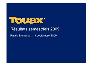 Réunion SFAF du 3 Septembre 2009 sur les comptes ... - Touax