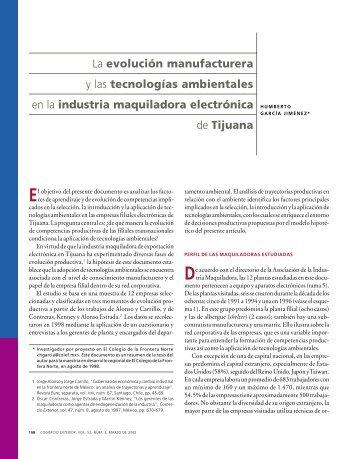 La evolución manufacturera y las tecnologías ambientales en la ...