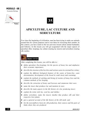 APICULTURE, LAC CULTURE AND SERICULTURE