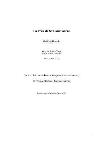 La Prise de Son Animalière - Ecole nationale supérieure Louis ...