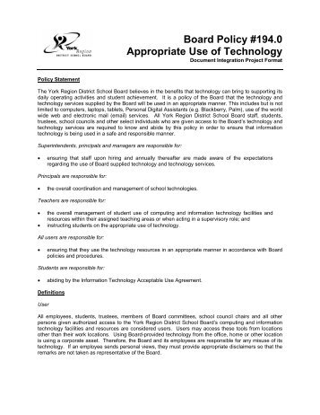 Appropriate Use of Technology - Markville Secondary School
