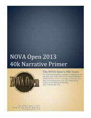 NOVA Open 2013 40k Narrative Primer