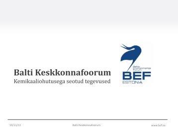 Balti Keskkonnafoorum Kemikaaliohutusega seotud ... - Terviseamet