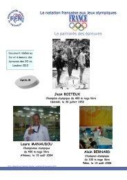 La natation française aux Jeux olympiques Le palmarès des épreuves
