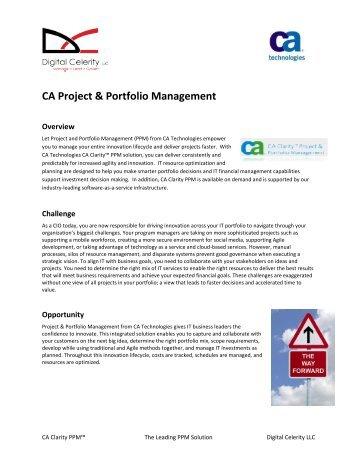 CA Project & Portfolio Management - Digital Celerity