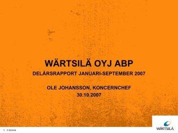 Omsättning 1-9/2007 - Wärtsilä