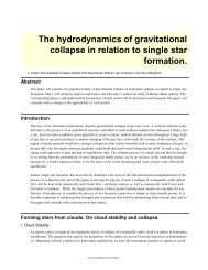 The hydrodynamics of gravitational collapse in relation to single star ...