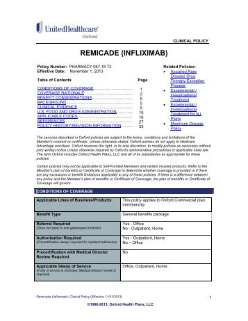 REMICADE (INFLIXIMAB) - Oxford Health Plans