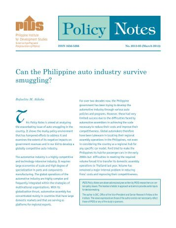 Policy Notes - Philippine Institute for Development Studies - PIDS