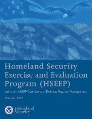 Volume I - HSEEP - Homeland Security