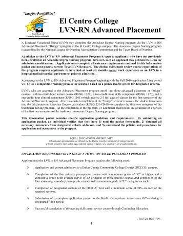 El Centro College LVN-RN Advanced Placement