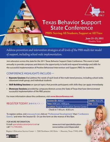 Texas Behavior Support State Conference - ESC2 Special Education