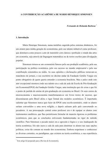 A Contribuição Acadêmica de Mário Henrique Simonsen - UFRJ