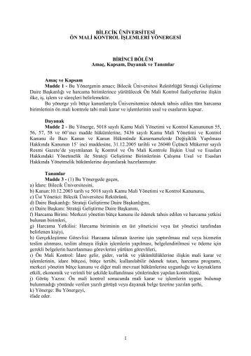 Bilecik Üniversitesi Ön Mali Kontrol İşlemleri ... - Strateji Geliştirme