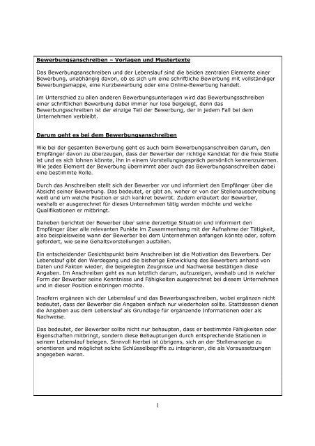 Bewerbungsanschreiben â Vorlagen Und Mustertexte Das