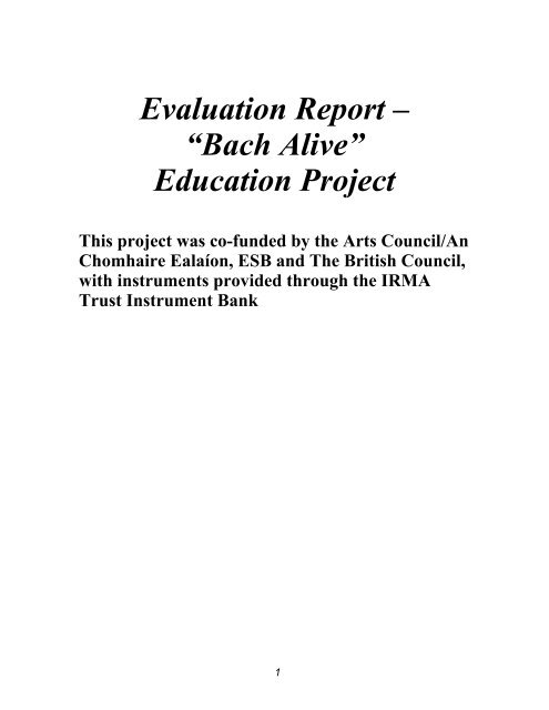 Bach Alive Project Evaluation Report (PDF 172kb) - Music Network